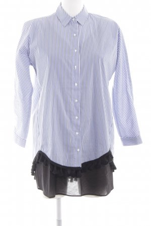 Zara Woman Blusenkleid wollweiß-kornblumenblau Streifenmuster Business-Look
