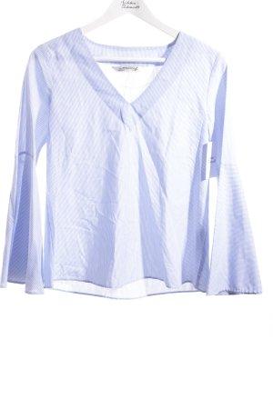 Zara Woman Blusa azzurro-bianco motivo a righe stile romantico