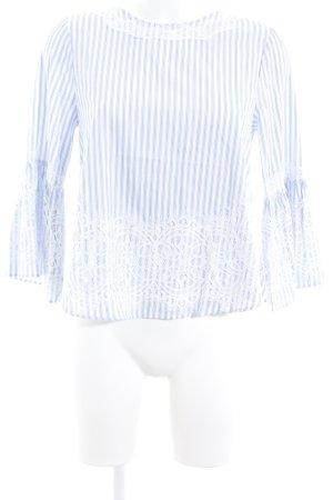 Zara Woman Blusa bianco-azzurro motivo a righe stile da moda di strada