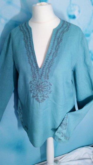Zara Woman Boho Leinen Mint Tunika Gr L neuwertig