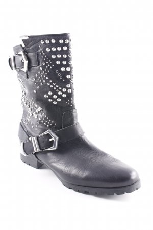 Zara Woman Booties schwarz Biker-Look