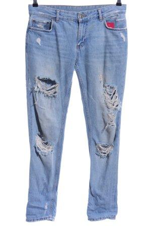 Zara Woman Jeans boyfriend blu pallido stile povero