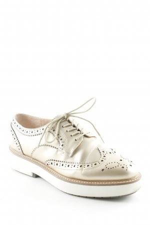 Zara Woman Wingtip Shoes cream-gold-colored business style