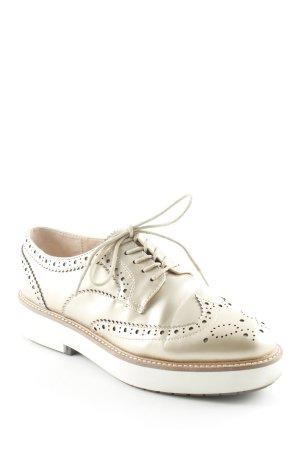 Zara Woman Zapatos Budapest crema-color oro estilo «business»