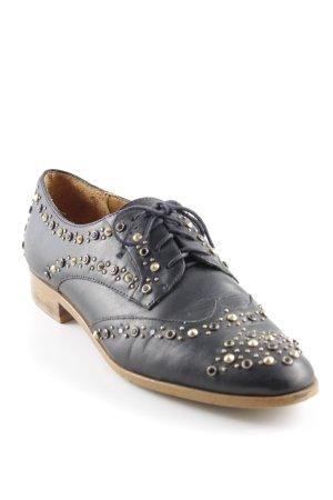 Zara Woman Zapatos Budapest negro-color oro estilo «business»