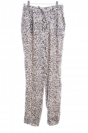 Zara Woman Bundfaltenhose creme-schwarz Leomuster Animal-Look