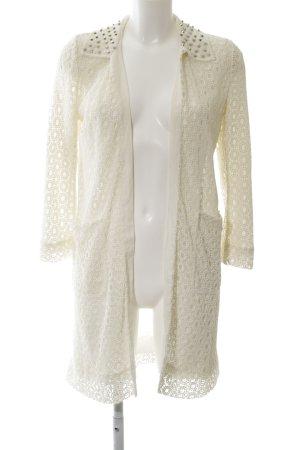 Zara Woman Cardigan wollweiß Zopfmuster Casual-Look