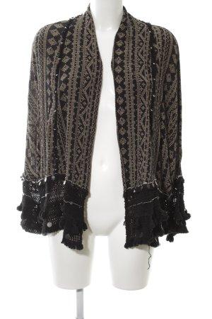 Zara Woman Cardigan braun-schwarz Allover-Druck Casual-Look