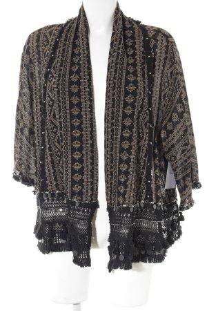 Zara Woman Cardigan schwarz-hellbraun abstraktes Muster Casual-Look