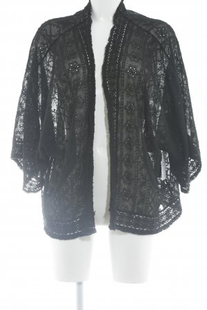 Zara Woman Cardigan schwarz Romantik-Look