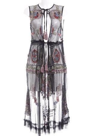 Zara Woman Cardigan nero-rosso stile hippie