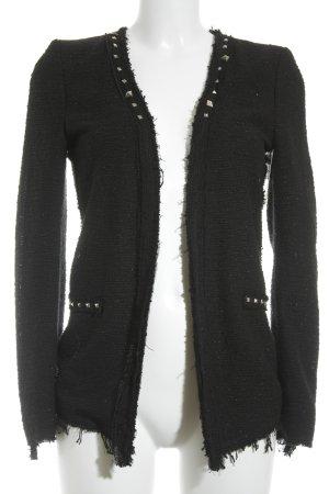 Zara Woman Cardigan schwarz-silberfarben Glitzer-Optik