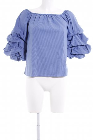 Zara Woman Carmen blouse blauw krijtstreep casual uitstraling