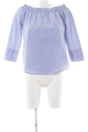 Zara Woman Carmen-Bluse blau-weiß Streifenmuster Beach-Look