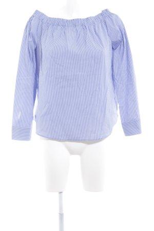 Zara Woman Carmen-Bluse stahlblau-wollweiß Streifenmuster Casual-Look