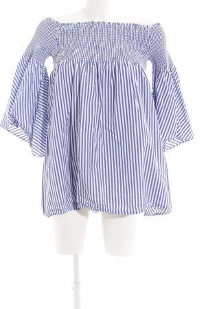 Zara Woman Carmen-Bluse weiß-blau Streifenmuster schlichter Stil