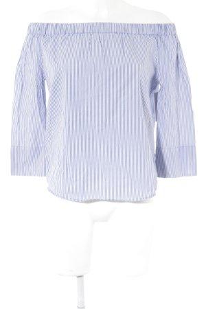 Zara Woman Carmen-Bluse weiß-kornblumenblau Streifenmuster Casual-Look
