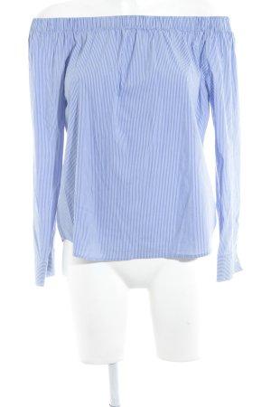 Zara Woman Carmen Blouse white-steel blue striped pattern casual look
