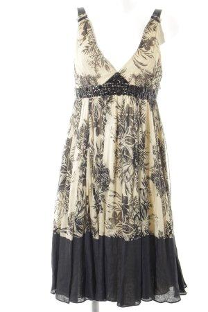 Zara Woman Abito da cocktail nero-sabbia motivo floreale elegante