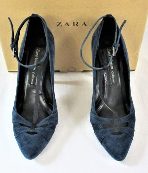 Zara Woman Collection Mary-Jane-Pumps /Velourleder/Marineblau/Silver/WIE NEU!