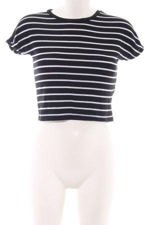 Zara Woman Cropped Shirt schwarz-weiß Streifenmuster Casual-Look