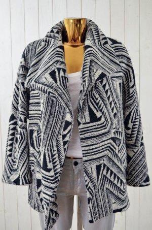ZARA WOMAN Damen Jacke Outdoor Offen Schwarz Weiß Ethno-Muster Gr.ca.38-40