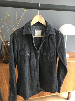 Zara Woman Denim Bluse Shirt graublau wie neu S Premium Denim collection