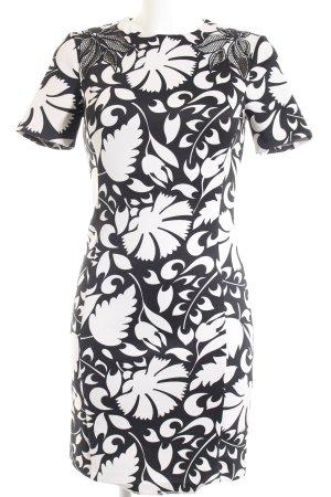 Zara Woman Etuikleid schwarz-weiß florales Muster Casual-Look