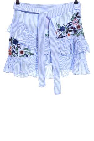 Zara Woman Gonna a pieghe blu-bianco stampa integrale stile casual