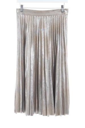 Zara Woman Gonna a pieghe argento-crema effetto bagnato