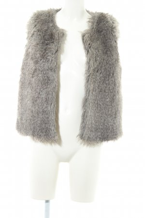 Zara Woman Fellweste graubraun Kuschel-Optik
