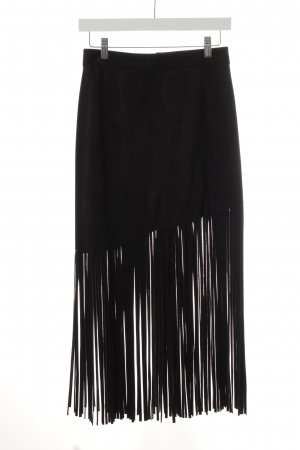 Zara Woman Fringed Skirt black party style