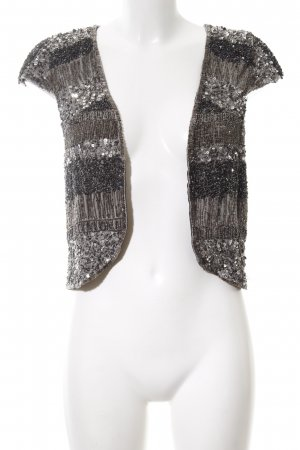 Zara Woman Fringed Vest black-light grey striped pattern extravagant style