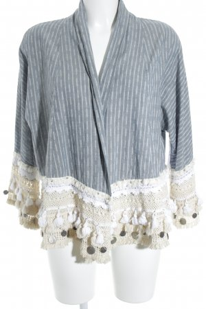 Zara Woman Fringed Vest cornflower blue-cream mixed pattern Jewelery application