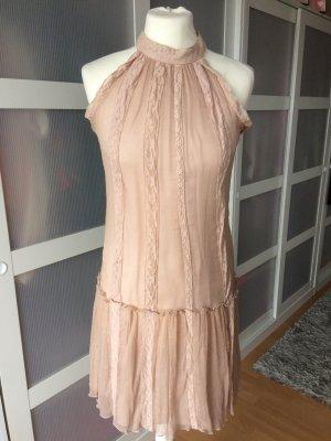 Zara Woman Frühlingskleid Seide M 36/38 rosa nude puder Spitze