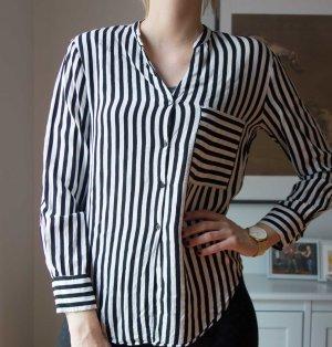 Zara Woman gestreifte Bluse mit Brusttasche schwarz weiß Gr. M