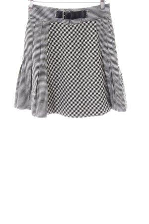 Zara Woman Flared Skirt black-white check pattern elegant