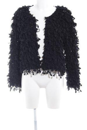 Zara Woman Grof gebreid vest zwart extravagante stijl