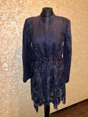 Zara Woman Blusa de lino azul oscuro