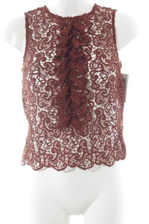 Zara Woman Crochet Top brown red paisley pattern elegant