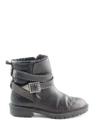 Zara Woman Borceguíes negro-color plata look Street-Style