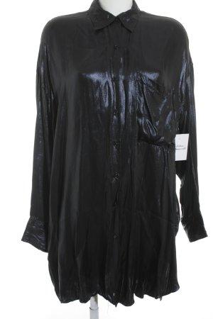 Zara Woman Hemd-Bluse dunkelblau Elegant