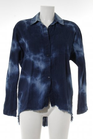 Zara Woman Hemd-Bluse dunkelblau-hellblau Batikmuster Hippie-Look