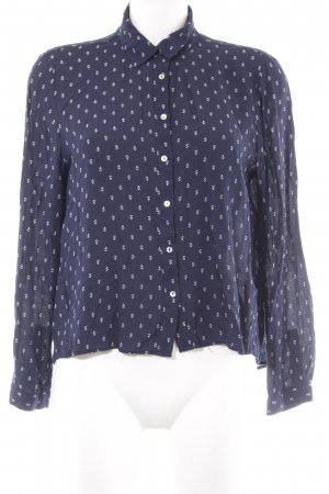 Zara Woman Hemd-Bluse dunkelblau-weiß Motivdruck Casual-Look