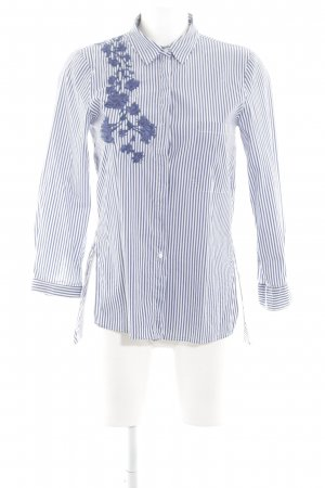 Zara Woman Hemd-Bluse weiß-neonblau Streifenmuster Business-Look