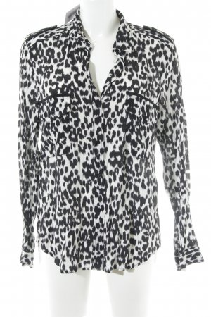 Zara Woman Hemd-Bluse schwarz-wollweiß Leomuster Animal-Look