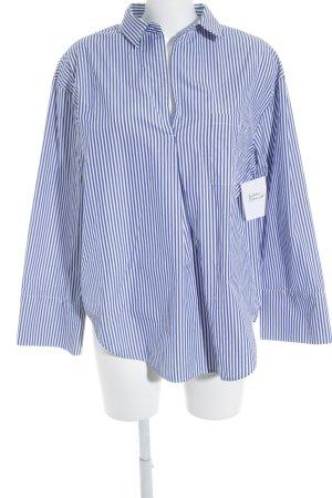 Zara Woman Hemd-Bluse stahlblau-weiß Streifenmuster Casual-Look