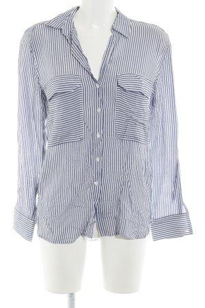 Zara Woman Hemd-Bluse weiß-graublau Streifenmuster Casual-Look