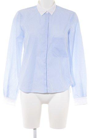 Zara Woman Hemd-Bluse weiß-himmelblau Streifenmuster Casual-Look