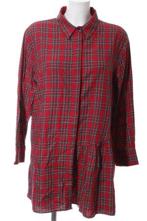 Zara Woman Robe chemise rouge-bleu motif à carreaux style décontracté